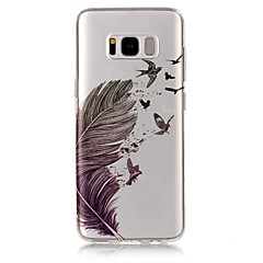 For IMD Transparent Mønster Etui Bagcover Etui Fjer Blødt TPU for Samsung S8 S8 Plus S7 edge S7 S6 edge S6 S5