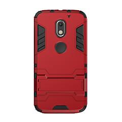 Voor Schokbestendig met standaard hoesje Achterkantje hoesje Effen kleur Hard PC voor Motorola Moto X Play Moto G3 MOTO G4 Moto G4 Plus