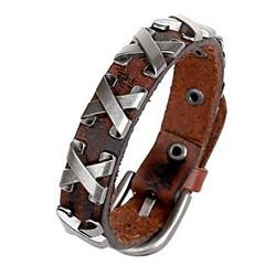 Heren Voor Stel Lederen armbanden Natuur Leder Zwart Bruin Sieraden Voor Verjaardag Sport 1 stuks