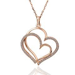 Női Nyaklánc medálok Nyakláncok Kocka cirkónia Heart Shape Cirkonium Ezüstözött Arannyal bevont Rózsa arany bevonattal ÖtvözetEgyedi
