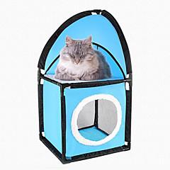 Gato Camas Mascotas Colchonetas y Cojines Sólido Transpirable Plegable Azul