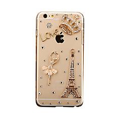 Para Com Strass Faça Você Mesmo Capinha Capa Traseira Capinha Torre Eiffel Rígida PC para AppleiPhone 7 Plus iPhone 7 iPhone 6s Plus