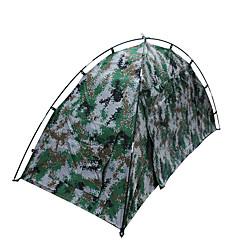 1 사람 텐트 더블 베이스 접이식 텐트 원 룸 캠핑 텐트 1500-2000 mm 유리 섬유 옥스퍼드 방수 휴대용-하이킹 캠핑-캐모플라지
