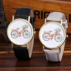לנשים שעוני אופנה שעון יד ייחודי Creative צפה שעונים יום יומיים Chinese קווארץ / צבעוני עור להקה מדבקות עם נצנצים מגניב יום יומישחור לבן