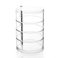 Acrílico claro grande 4 camadas cilindro rotativo maquiagem cosméticos organizador de armazenamento caixa de exibição de jóias