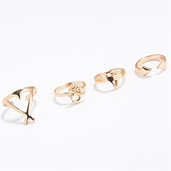 Ring Jewelry Euramerican Fashion Personalized Chrome Geometric Silver Gold Rings For Daily Casual Outdoor 1 Set Wedding Gifts