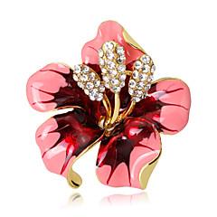 Kadın's Kadın Broşlar Çiçekli Kristal alaşım Flower Shape Mücevher Uyumluluk Düğün Parti Özel Anlar Günlük