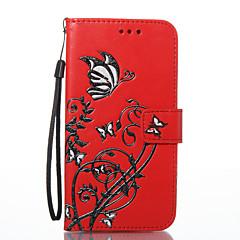 Til lg k8 k7 tilfælde cover sommerfugl blomster mønster pu materiale kort stent tegnebog telefon sag g6