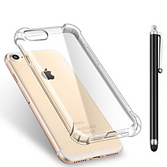 for Apple iPhone 7 7 Plus 6s 6 Plus SE 5S 5 SZKINSTON Shockproof Transparent Soft TPU Back Cover Case handsel Black Metal Capacitive Pen