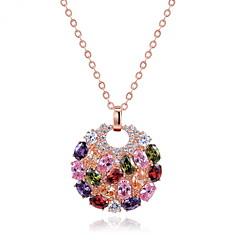 Damskie Naszyjniki z wisiorkami Biżuteria Round Shape Biżuteria Cyrkon Stop Unikalny Modny euroamerykańskiej Biżuteria NaŚlub Impreza