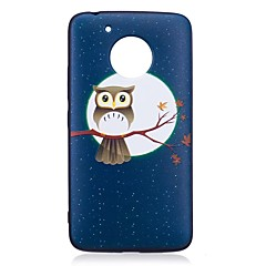 Voor motorola moto g5 plus case cover uil patroon reliëf back cover soft tpu