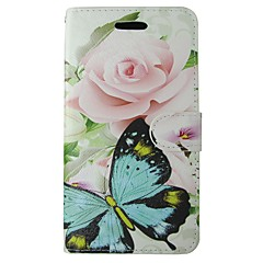 Til samsung galaxy a5 2017 a3 2017 case cover pink rose blå butterfly krops cover med kort og booth a3 2016 a5 2016 a3 a5