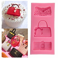 Random Color Fashion Bags Fondant Chocolate Mold Silicone Mold Fondant Cake Decoration Molds