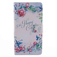 Til samsung galaxy note 4 kuffert kortholder lommebog med stativ flip mønster fuld krop sag ord / sætning blomst hard pu læder