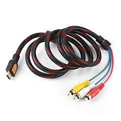 5 Feet HDMI uros tulo 3 RCA Plug Video Audio AV-kaapeli sovitin muunnin Connector, Durable (musta, 1.5M)