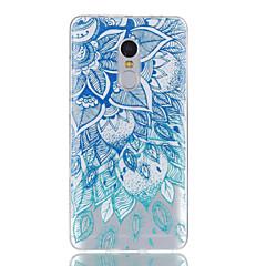 Voor xiaomi redmi note 4 case cover blauw blad patroon glanzend geschilderd reliëf tpu soft case