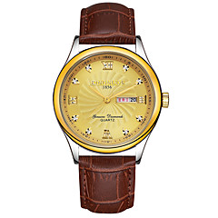 KINGNUOS Men's Fashion Watch Wristwatch Luxucy Elgant Unique Creative Cool Watch Quartz Calendar Business Classic Genuine Leather Band Watches