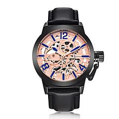 Heren Modieus horloge mechanische horloges Automatisch opwindmechanisme Waterbestendig s Nachts oplichtend Leer Band Zwart Bruin