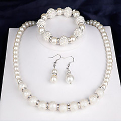 Mulheres Sets nupcial Jóias Imitação de Pérola Moda bijuterias Pérola Forma Redonda 1 Colar 1 Par de Brincos 1 Bracelete Para Festa Diário