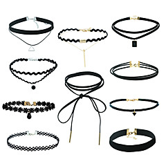 Dames Sieraden Set Hangertjes ketting Black Choker Hip-hop Kostuum juwelen Kwasten Punk-stijl Gemengd Materiaal Legering Geometrische vorm