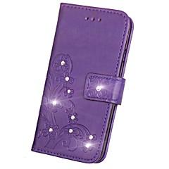esküvői kártyatartó pénztárca strasszos állvánnyal flip mágneses dombornyomott minta teljes testes tok virágos kemény pu bőrrel samsung