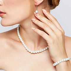 Dames Sieraden Set Ketting / Oorbellen Strengkettingen Elegant Bruids Kostuum juwelen Parel Cirkelvorm Oorbellen Ketting Armband Voor