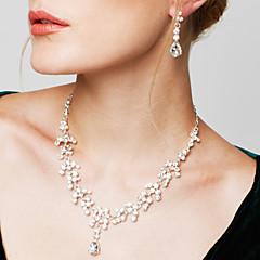 Mulheres Conjunto de Jóias Brinco Colar de Fios Moda Elegant bijuterias Zircônia Cubica Strass Prata Chapeada Imitações de Diamante