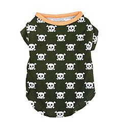 Perro Camiseta Ropa para Perro Casual/Diario Cráneos Verde Cazador