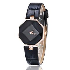 Kadın's Moda Saat Gündelik Saatler Bilek Saati Quartz imitasyon Pırlanta Deri Bant Yaratıcı Siyah Beyaz Mavi Kırmızı Kahverengi