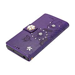Til Etuier Pung Kortholder Med stativ Flip Magnetisk GDS Heldækkende Etui Sommerfugl Blomst Hårdt Kunstlæder for Sony Sony Xperia XZ