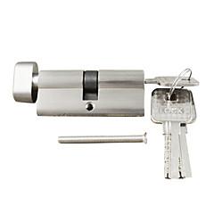 zárbetét forgatógomb henger 70mm (35/35), zárbetét gombbal 3 kulccsal, ecset nikkel