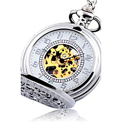 Męskie Zegarek kieszonkowy Nakręcanie automatyczne Grawerowane Stop Pasmo Postarzane Srebro