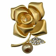 Kadın's Broşlar Elmas İmitasyon İnci Moda Kişiselleştirilmiş Klasik alaşım Flower Shape Mücevher Uyumluluk Parti Gece Partisi Sahne
