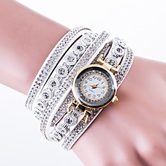 Dame Modeur Armbåndsur Diamantbelagt ur Kinesisk Quartz Læder PU Bånd Kreativ Luksus Afslappet Sort Hvid Blåt Rød Kaki Marine Rose