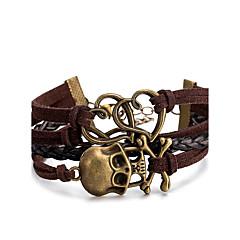 Męskie Damskie Bransoletki Wrap Bransoletki ze skóry Biżuteria Styl Punk Wielowarstwowy Skórzany Stop Skull shape Biżuteria Na Codzienny