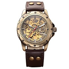 Heren Kinderen Militair horloge Skeleton horloge mechanische horloges Japans Automatisch opwindmechanisme Kalender Chronograaf
