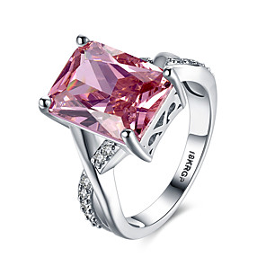 Dames Synthetische Ruby Bandring Statement Ring - Sterling zilver, Zirkonia, Gesimuleerde diamant Hart, Liefde Gepersonaliseerde, Modieus 6 / 7 / 8 / 9 Rood Voor Bruiloft Feest Verloving