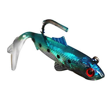 2 pcs soft bait green yellow red blue g ounce mm for Rubber fishing lures