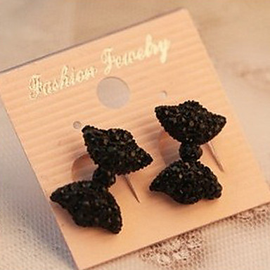 Stud Earrings Simulated Diamond Alloy Sexy Bowknot Black Jewelry Party Daily
