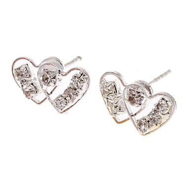 Doppel-Herz-Silber überzogene Ohrstecker