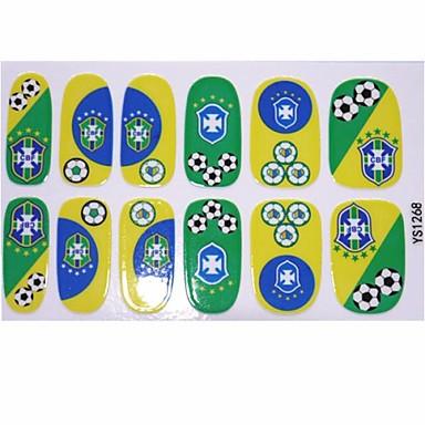 2014 Most Popular Brasilien Fu Ball Spiel Muster Nail Art Aufkleber Folien F