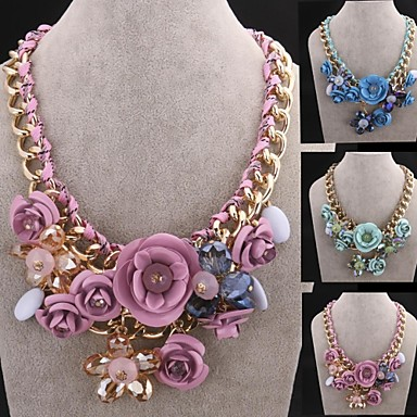 Fashion Crystal Gem Flower Necklace