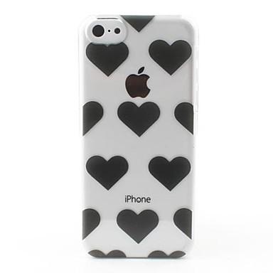 Transparent Schwarz Herzen Stil hart zurück Fall für iPhone 5C