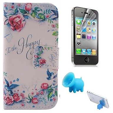 The Rose Pattern PU Leather Full Body Cover with Pig Stand and Protective Film for iPhone 4/4S