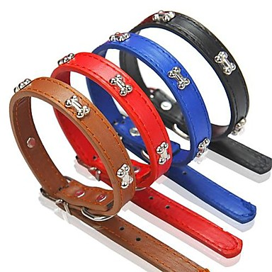 Adjustable PU Leather Bone Pattern Collar for Pet Dogs(Assorted Colours)