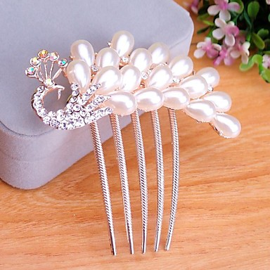 Beautiful Bride Popular European Style Luxury Rhinestone Peacock Hair Comb