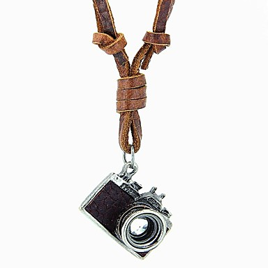 Men's Women's Couple's Statement Necklaces Lockets Vintage Pendants Alloy Leather Simple Style Black Brown Jewelry