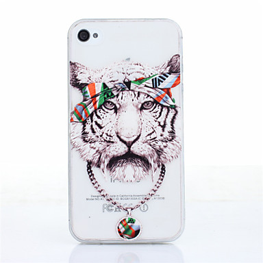 Tiger-Muster-TPU Soft Cover für iPhone 4 / 4S