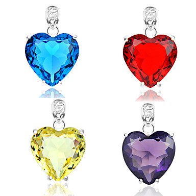 Pendants Heart Heart Crystal Silver Plated Women Men Couples