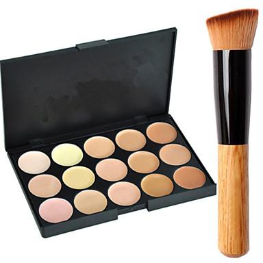 15 Concealer/Contour Cream-to-powder Face Makeup Concealer Palette ShineMore 15 Colors Cream Makeup Palette Come With an Oblique Head Powder Brush